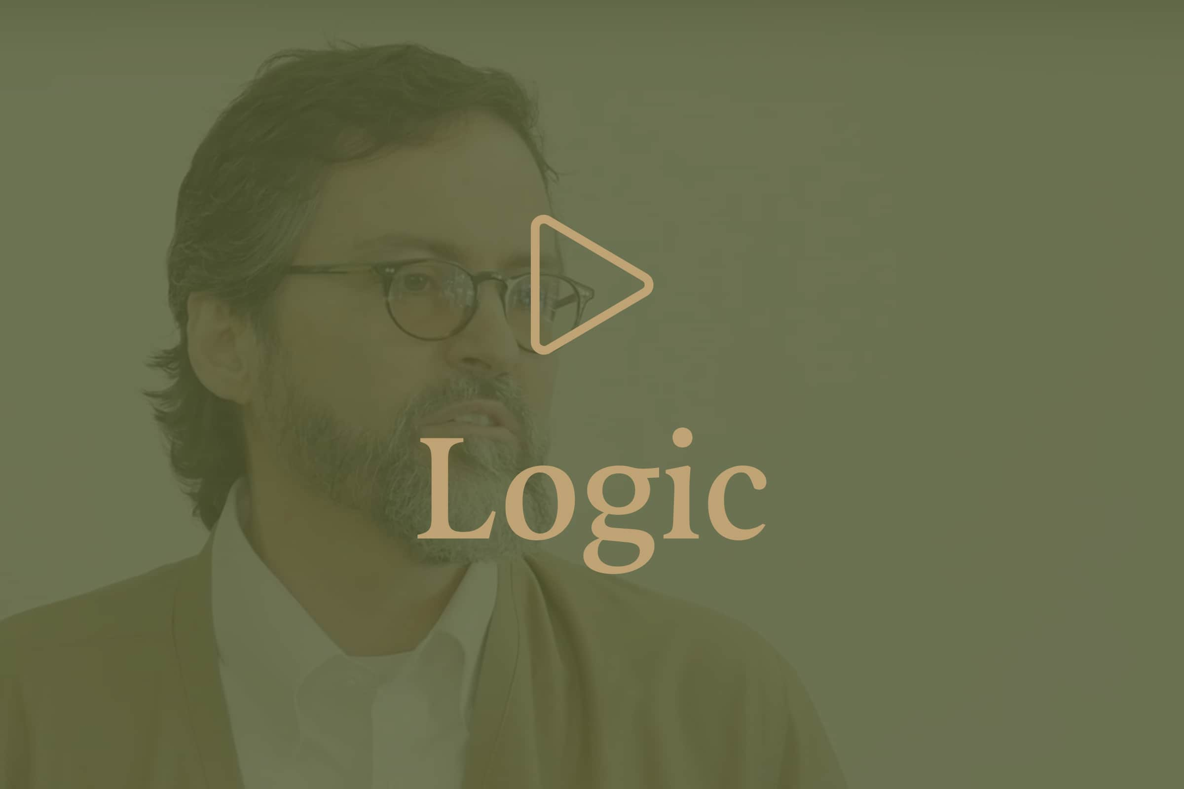 Hamza Yusuf image with an overlay of play icon with Logic title.