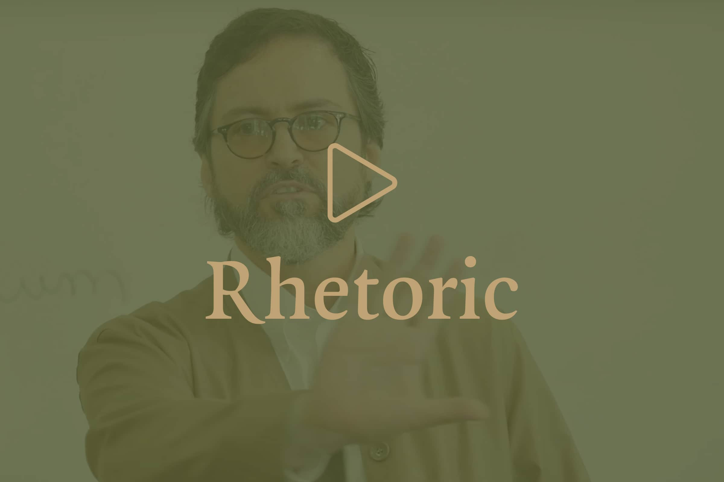 Hamza Yusuf image with overlay of play icon with Rhetoric title.